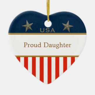 米国の誇り高い娘の愛国心が強いハートフレーム セラミックオーナメント