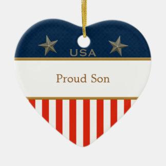 米国の誇り高い息子の愛国心が強いハートフレーム セラミックオーナメント