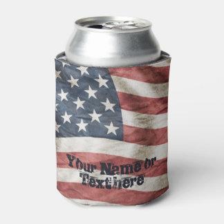 米国の赤く、白くおよび青のヴィンテージの旗 缶クーラー