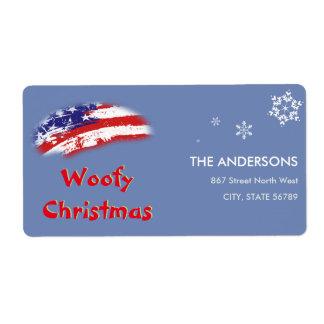 米国の赤白青の旗のWoofyのクリスマス ラベル