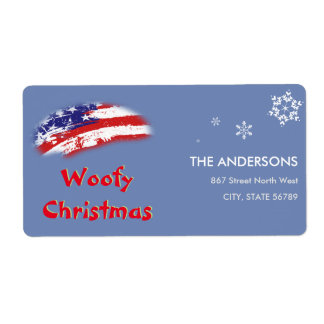 米国の赤白青の旗のWoofyのクリスマス 発送ラベル