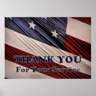 米国の軍の退役軍人の愛国心が強い旗は感謝していしています ポスター