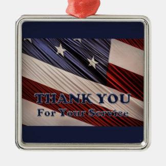 米国の軍の退役軍人の愛国心が強い旗は感謝していしています メタルオーナメント