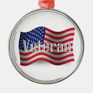 米国の退役軍人の振る旗 メタルオーナメント