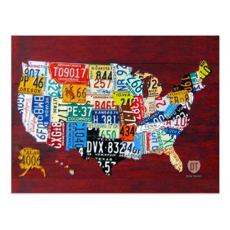 米国の郵便はがきのナンバープレートの地図 ポストカード