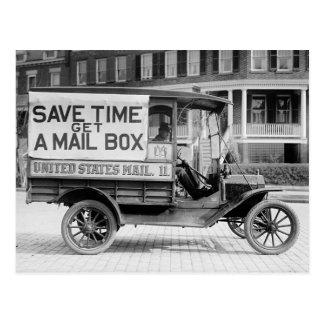 米国の郵便局の部門によるモーターを備えられた郵便ワゴン ポストカード