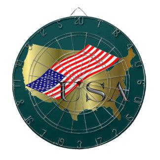 米国の金ゴールド+amerikanischer Flagge ダーツボード