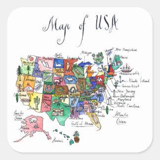 米国の魅力の地図 スクエアシール