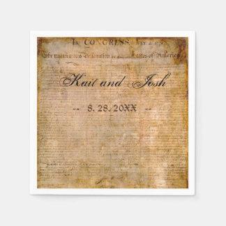 米国の1776年の結婚式独立宣言 スタンダードカクテルナプキン
