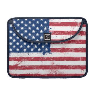 米国の(ばちゃばちゃ)跳ねるの色彩の鮮やかな旗 MacBook PROスリーブ