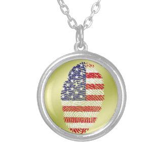 米国のtouchの指紋の旗 シルバープレートネックレス