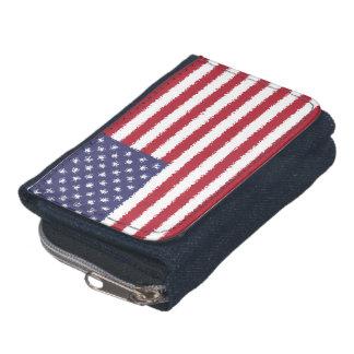 米国はアメリカの愛国心が強いデニムの財布に印を付けます