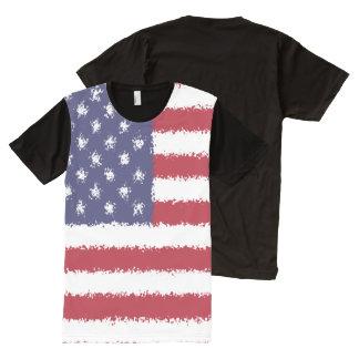 米国はアメリカの愛国心が強い人のグラフィックのTシャツに印を付けます オールオーバープリントT シャツ