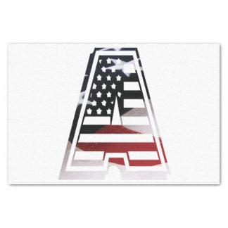 米国はアメリカ人の最初のモノグラムAに印を付けます 薄葉紙
