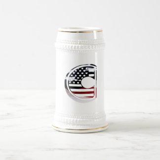 米国はアメリカ人の最初のモノグラムCに印を付けます ビールジョッキ