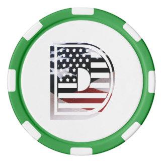 米国はアメリカ人の最初のモノグラムDに印を付けます ポーカーチップ