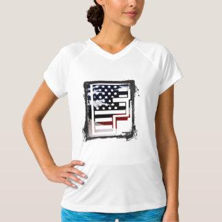 米国はアメリカ人の最初のモノグラムFに印を付けます Tシャツ