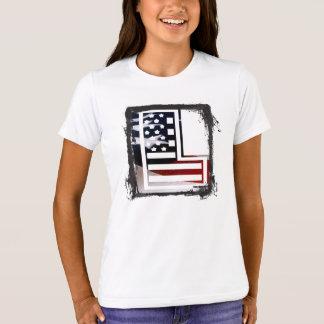 米国はアメリカ人の最初のモノグラムLに印を付けます Tシャツ