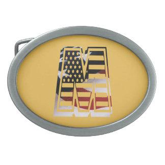 米国はアメリカ人の最初のモノグラムMに印を付けます 卵形バックル