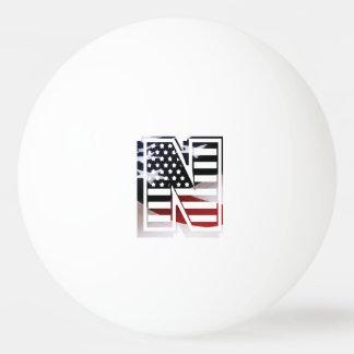 米国はアメリカ人の最初のモノグラムNに印を付けます 卓球ボール