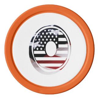 米国はアメリカ人の最初のモノグラムOに印を付けます ポーカーチップ