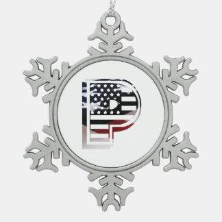 米国はアメリカ人の最初のモノグラムPに印を付けます スノーフレークピューターオーナメント