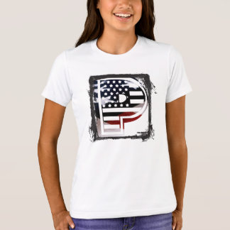 米国はアメリカ人の最初のモノグラムPに印を付けます Tシャツ