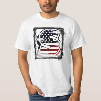 米国はアメリカ人の最初のモノグラムSに印を付けます Tシャツ