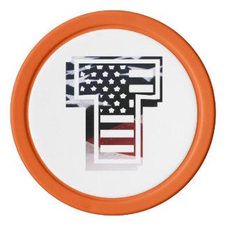 米国はアメリカ人の最初のモノグラムTに印を付けます ポーカーチップ