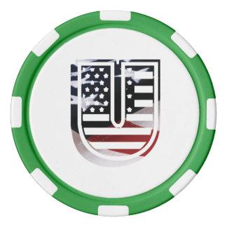 米国はアメリカ人の最初のモノグラムUに印を付けます ポーカーチップ