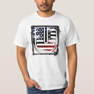 米国はアメリカ人の最初のモノグラムUに印を付けます Tシャツ