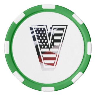 米国はアメリカ人の最初のモノグラムVに印を付けます ポーカーチップ
