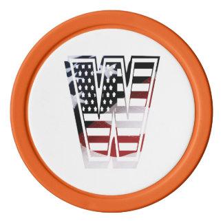 米国はアメリカ人の最初のモノグラムWに印を付けます カジノチップ