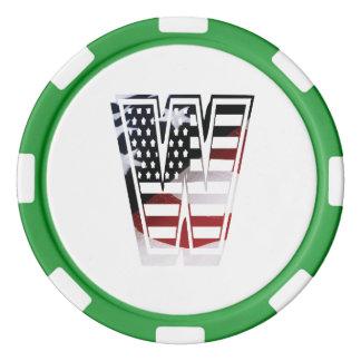 米国はアメリカ人の最初のモノグラムWに印を付けます ポーカーチップ