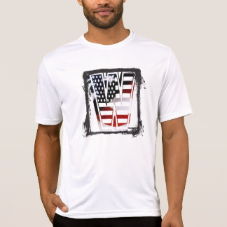 米国はアメリカ人の最初のモノグラムWに印を付けます Tシャツ
