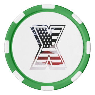 米国はアメリカ人の最初のモノグラムXに印を付けます ポーカーチップ