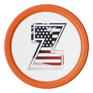 米国はアメリカ人の最初のモノグラムZに印を付けます ポーカーチップセット