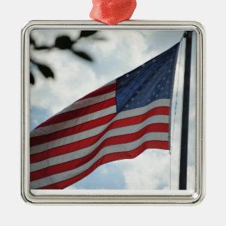 米国はオーナメントに印を付けます シルバーカラー正方形オーナメント