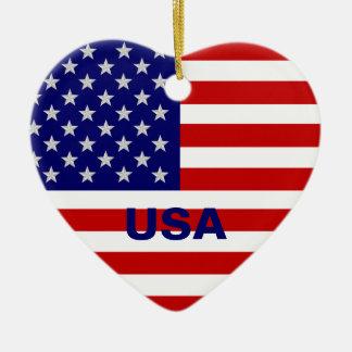 米国はハートのオーナメントに印を付けます セラミックオーナメント