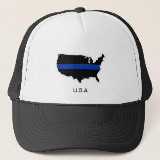 米国はブルーライントラック運転手の帽子を薄くします キャップ