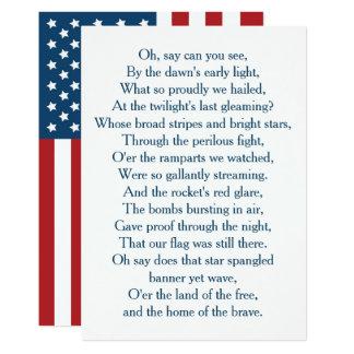 米国は国歌の聖歌隊に印を付けます カード