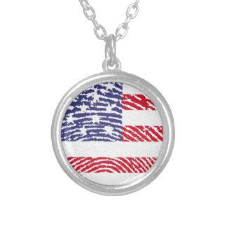 米国は指紋に印を付けます シルバープレートネックレス
