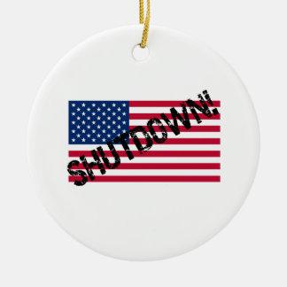 米国は政府の操業停止に印を付けます 陶器製丸型オーナメント