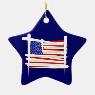 米国は旗にブラシをかけます セラミックオーナメント