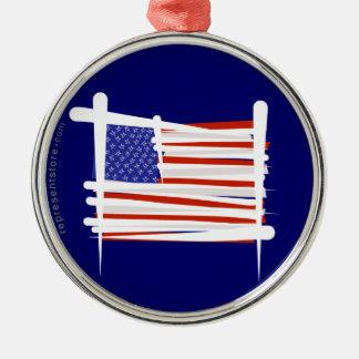 米国は旗にブラシをかけます メタルオーナメント