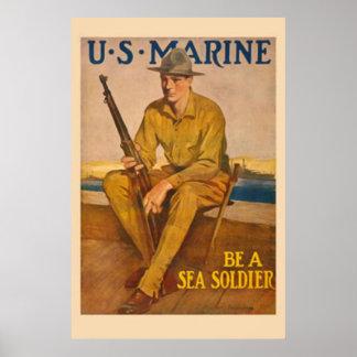 米国は海の兵士海洋です ポスター