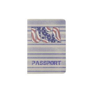 米国は素朴なデニム旅行モノグラムに印を付けます パスポートカバー