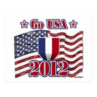 米国は行きます! アメリカの旗-木製の穀物を使って ポストカード