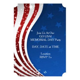 米国は行きます! メモリアルデーのパーティの招待状 カード