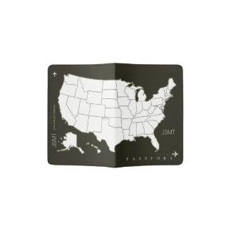 米国は、アメリカ旅行黒及び白地図を描きます パスポートカバー